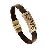 2016 Fashion Alloy leather bracelet LOVE couple leather bracelet vintage jewelry male and female students(bracelet)