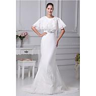 Trumpet/Mermaid Wedding Dress-Ivory Chapel Train Jewel Satin