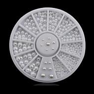 Schattig-Vinger-Nagelsieraden-Acryl-1wheel white pearls nail decorations- stuks6cm wheel- (cm)