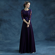 Formal Evening Dress A-line Jewel Floor-length Chiffon / Satin with Appliques / Crystal Detailing