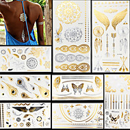 8pcs Gold Silver Butterfly Feather Evil Eye Totem Temporary Flash Metallic Tattoos Sticker Waterproof