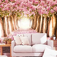 Contemporary 3D Shinny Leather Effect Large Mural Wallpaper Warm Pink Flowers And Trees Art Wall Decor