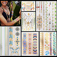 6pcs nuevas mujeres del arte de cuerpo impermeable de collar cadena de joyería multicolor hermoso pegatinas tatuaje temporal oro