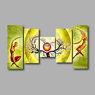 """Stretched (ready to hang) Hand-Painted Oil Painting 64""""x36"""" Canvas Wall Art Modern Abstract Yellow Green"""