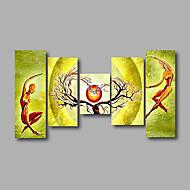Dipinta a mano Astratto / Cartoni animatiModern Cinque Pannelli Tela Hang-Dipinto ad olio For Decorazioni per la casa