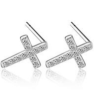 Hot Summer Style Super Flash Rhinestone Cross Stud Earrings Real 925 Silver Wonderful Women Fashion Jewelry