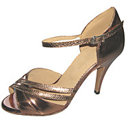 Women's Dance Shoes Latin/Salsa Leatherette Heel Brown Customizable