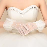Até o Pulso Com Dedos Luva Nailon Luvas de Noiva Luvas de Festa Primavera Outono Inverno Paetês