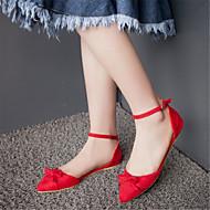 Calçados Femininos-Sapatilhas-Conforto / Bico Fino-Rasteiro-Preto / Azul / Rosa / Vermelho / Cinza-Flanelado-Escritório & Trabalho /