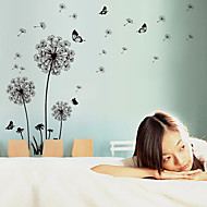 Romance Black Dandelion Wall Decals Fashion / Florals / Landscape Wall Stickers Plane Wall Stickers,pvc 60*90cm