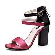 Chaussures Femme-Habillé-Blanc / Argent / Champagne / Bordeaux-Gros Talon-Talons / Bout Arrondi / Bout Ouvert-Sandales-Similicuir
