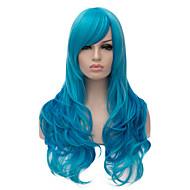 longs ondulés couleur bleu cheveux cosplay perruque synthétique de qualité supérieure