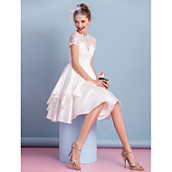 Lanting Bride® A-line Wedding Dress Knee-length High Neck Lace / Charmeuse with Lace / Sash / Ribbon