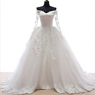 A-line Wedding Dress Court Train Off-the-shoulder Lace / Tulle with Appliques