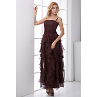 Formal Evening Dress A-line Spaghetti Straps Ankle-length Chiffon with Ruffles