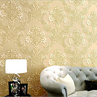 HaokHome® Modern Damask Wallpaper Rolls Cream Luxury Non Woven Heavy Textured Wall Paper Realistic Home Decoration