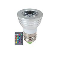 3W E14 / GU10 / E26/E27 תאורת ספוט לד 1 לד בכוח גבוה 270 lm RGB עמעום / עובד עם שלט רחוק AC 85-265 V חלק 1
