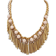 Fashion Punk Style Jewelry Statement Long Tassel 4 Color Alloy Pendant Necklace For Lady Women