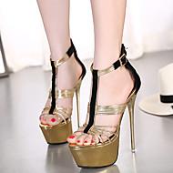 Women's Shoes Fleece Stiletto Heel Open Toe Sandals Party & Evening / Dress Gold