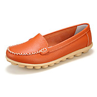 Women's Spring / Summer / Fall / Winter Comfort Leather Casual Flat Heel Slip-onBlack / Brown / Yellow / White / Orange / Burgundy /