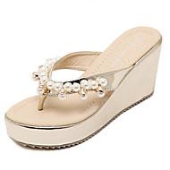 Women's Shoes Leatherette Wedge Heel Flip Flops Sandals Dress Black / Gray / Gold