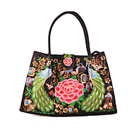 Women Canvas Shopper Shoulder Bag / Wristlet-Green / Red