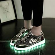 נעלי נשים-סניקרס אופנתיים-דמוי עור-מעוגל-כסוף / זהב-שטח / קז'ואל / ספורט-עקב שטוח