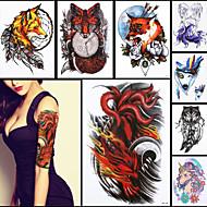 8pcs belleza 3d calcomanía tatuaje temporal ferocidad de nueve colas de zorro diseño de la garra hombres de las mujeres del arte de cuerpo