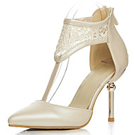 Women's Shoes Lace/Stiletto Heel/D'Orsay & Two-Piece/T-Strap/Pointed Toe Heels Party & Evening/Dress Black