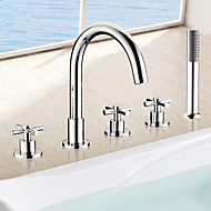 Bathtub Faucet - Contemporary - Sidespray / Handshower Included - Brass (Chrome)