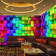 3Dシニーレザー効果大壁画の壁紙カラフルなグリッド・アート壁の装飾の壁紙