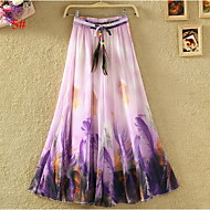Women's Print Multi-color Skirts,Casual / Day / Beach Midi Bohemian Dresses
