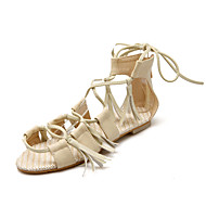 Women's Shoes PU Flat Heel D'Orsay & Two-Piece / Comfort / Novelty / Open Toe Sandals Outdoor / Dress Black / Yellow