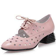 Women's Shoes Low Heel Leather Round Toe Oxfords Outdoor &Dress &Casual Black/Pink/White