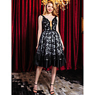 TS Couture® Cocktail Party Dress - Black A-line Straps Knee-length Lace
