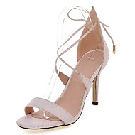 Women's Shoes Stiletto Heel Heels / Ankle Strap Sandals Party & Evening / Dress / Casual Pink / White /Gray