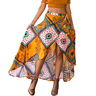 Women's Print Yellow Skirts,Casual / Day Asymmetrical