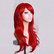 70cm 긴 곱슬 빨간 머리 풍량 고온 실크 가발