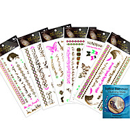 kinghorse-Tatuajes Adhesivos-Non Toxic / Waterproof / Metálico-Otros-Mujer / Adulto-Multicolor-Papel-7Pcs/Lot =6pcs temporary tattoos