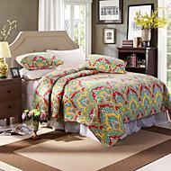 100% algodão florais coloridos 3 peças acolchoado set colcha