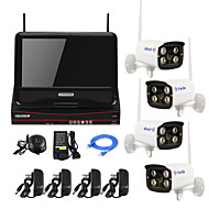 YanSe® 10-inch Wireless Plug and Play HD 4 Channel Surveillance P2P 720P Home Bullet Security Camera NVR Kit CCTV System