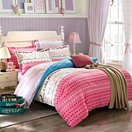I Love My Home 100% Cotton Twill Stripped Pattern 3 Pcs Sheet Set for Twin/Queen Size Bed