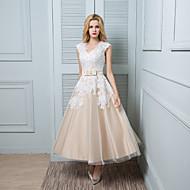 Lanting bruden Online brudekjole-fotsid v-hals blonder / sateng / tyll