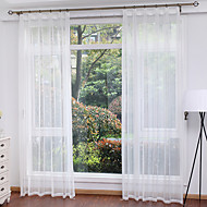 Two Panels Modern Solid White Living Room Polyester Sheer Curtains Shades