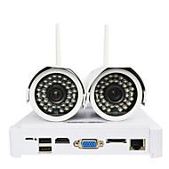 ctvman vezeték nélküli WiFi IP kamera diy NVR kit HD 720p 2db 1MP golyó kültéri kamerák + 1db 4 csatornás mini NVR