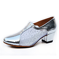 Customizable Women's Dance Shoes Samba Leather / Sparkling Glitter Chunky Heel Silver / Gray / Gold