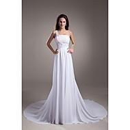 A-line Wedding Dress Court Train One Shoulder Chiffon / Satin with Beading / Draped