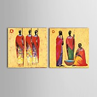 Pintura a óleo abstrata africano / arte da parede pintada à mão 2 pedaço definido com moldura esticada