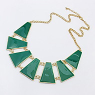 Fashion New Europe Style Exaggerate Trapezoid Geometry Resin Gem Choker Necklace For Women
