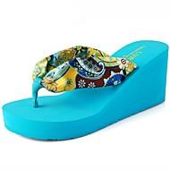 נעלי נשים-כפכפים-סינטתי-פלטפורמות / פתוח-כחול / בז'-קז'ואל-עקב וודג'